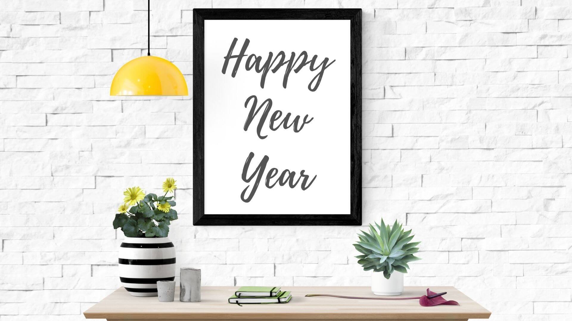 Happy New Year White Frame Picture