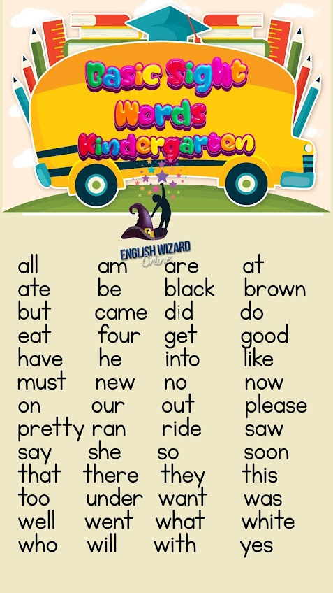 kindergarten basic sight words