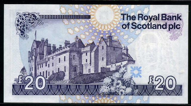 Royal Bank of Scotland 20 Pounds Sterling banknote Scottish paper money Brodick Castle