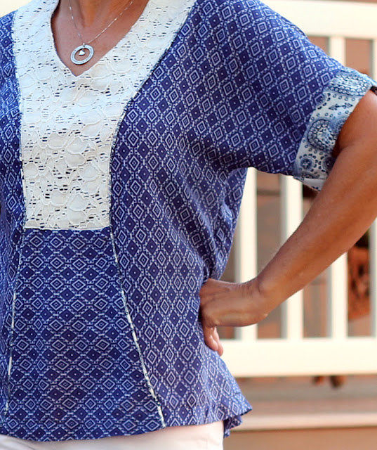 Indiesew pattern Tea House top by Sew House 7 using three fabrics and piping