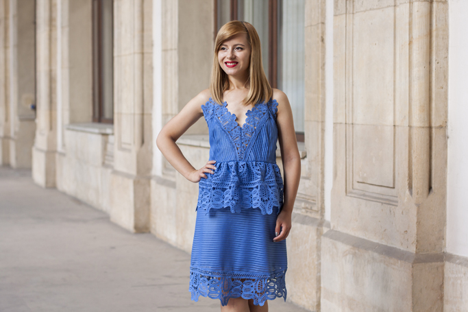 vision on fashion blue lace dress