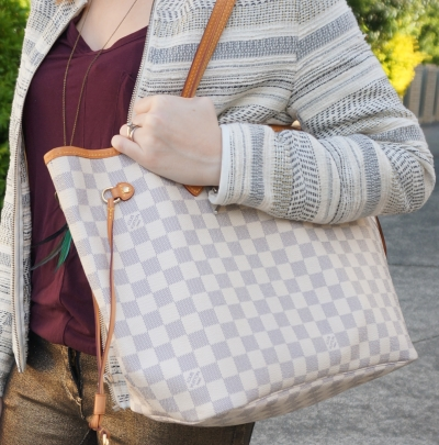 Away From Blue blog picnic bag Louis Vuitton MM damier azur neverfull