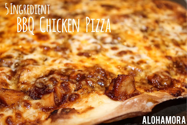 BBQ Chicken Pizza- 5 Ingredient Pizza.  Super easy to make, use your leftover crock-pot chicken, and it's a meal everyone enjoys.  I love the thin pizza crust as well.  Alohamora Open a Book http://www.alohamoraopenabook.blogspot.com/ homemade pizza