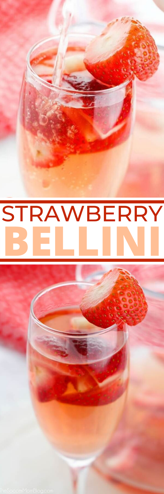 Strawberry Shortcake Bellini #party #drink #brunch #recipes #cocktails