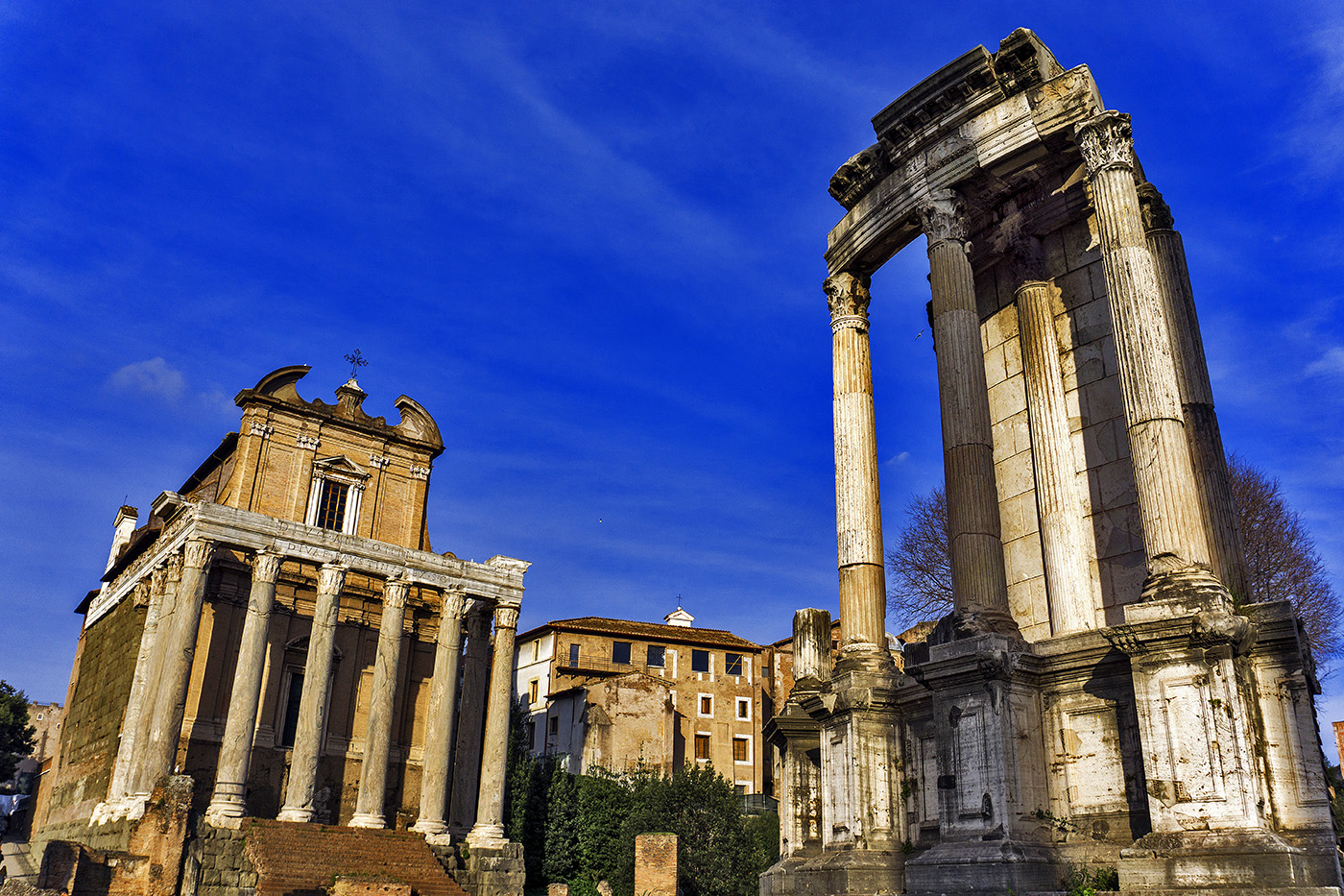 Temple of Antoninus and Faustina and Temple of Vesta at the Roman Forum in Rome,Italy