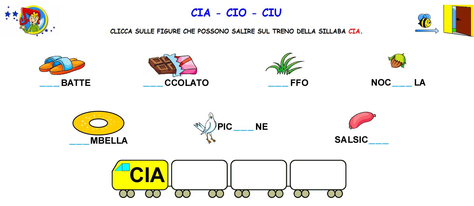 Schede Ed Attività Didattiche Del Maestro Fabio Per La: Parole Con Cia Cio Ciu Per Bambini