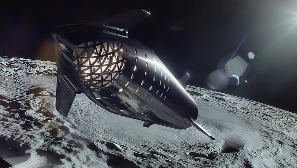 Official render of SpaceX dearMoon Starship orbiting the Moon