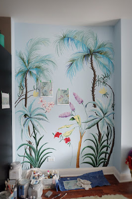 wall paint palm flowers bushes leaves hand