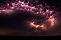 Mammatus Clouds and Lightning over Nebraska
