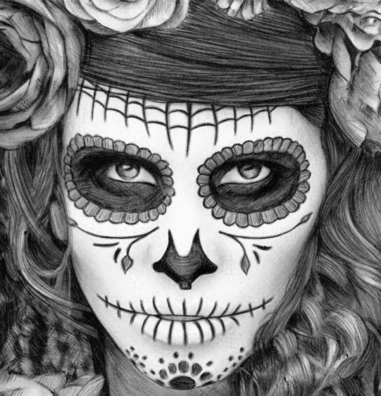 14-Sugar-Skull-Día-de-Muertos-Julio-Lucas-Experimenting-with-Photo-Realistic-Drawings-www-designstack-co