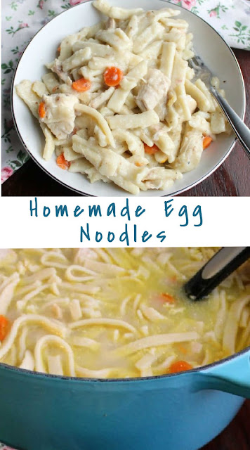 These homemade egg noodles are pure comfort food.  My great-grandma made them, then my maw-maw, my mom and now little dude! They are a must have around Thanksgiving, but we also make chicken and noodles at least a time or two throughout the year!