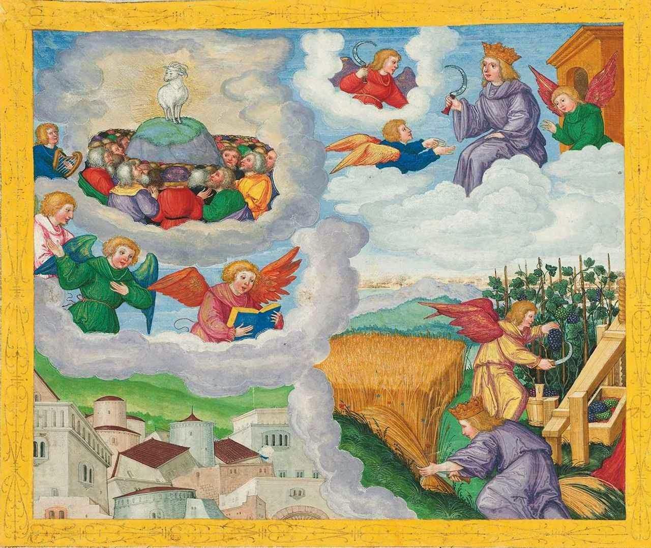 Anjo sai do Templo e manda segar e vendimiar. Ottheinrich-Bibel, Bayerische Staatsbibliothek, Cgm 8010.