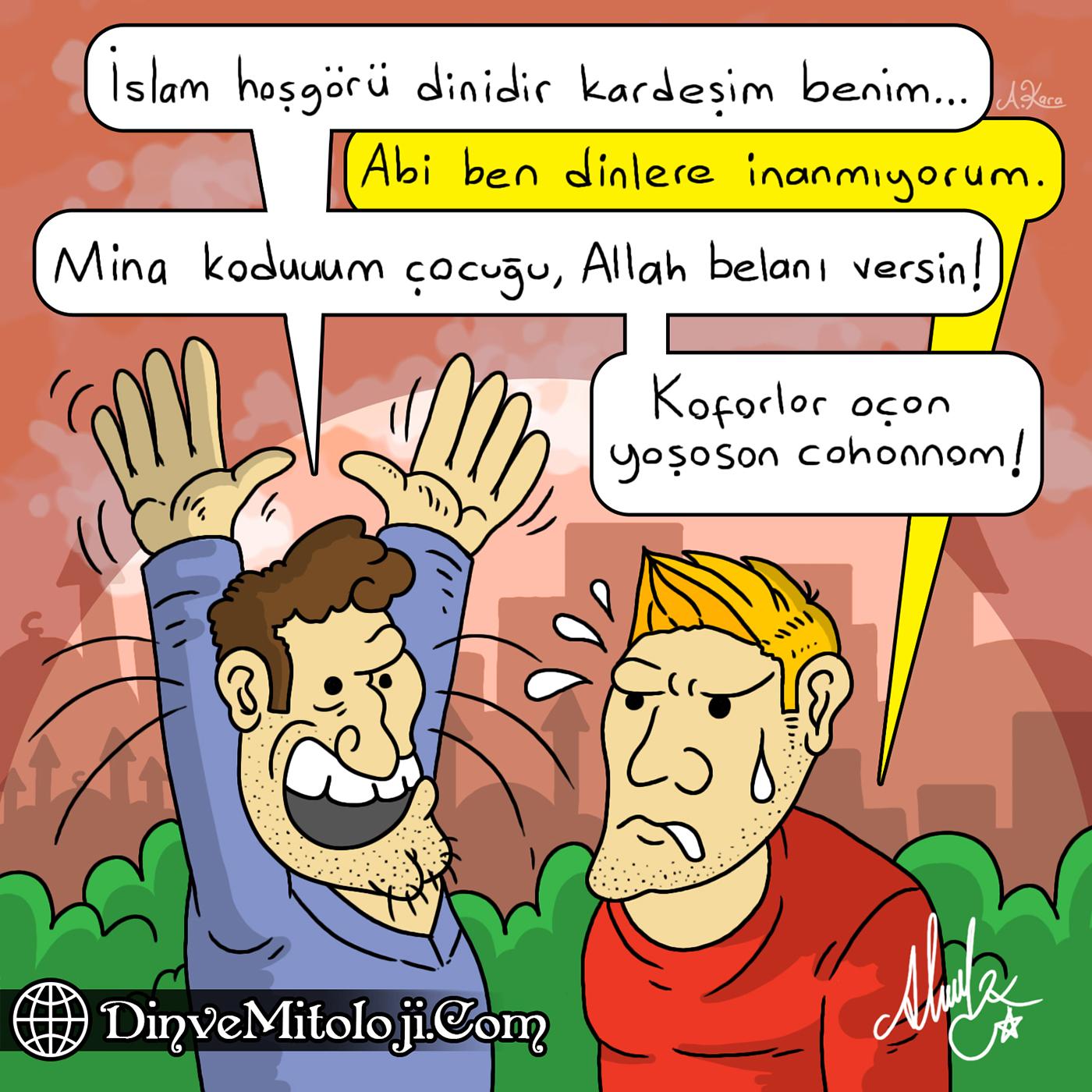din karikatürleri, dini karikatür, eleştiriye gelemeyen dindar, hoşgörü dini, islam hoşgörü dinimidir, islamiyet karikatür, kafirler için yaşasın cehennem, karikatür, küfürbaz yobaz, A,