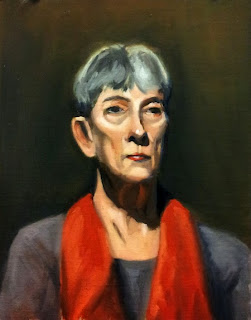 Oil painting of a woman with grey hair wearing a red scarf.