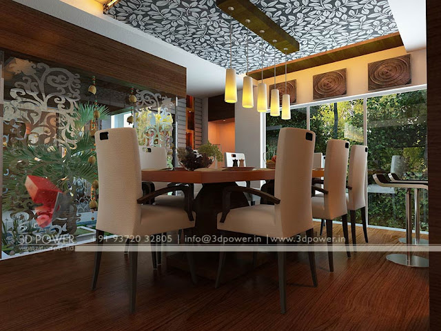 Interior design living and dining 3d rendering services for Drawing dining room designs