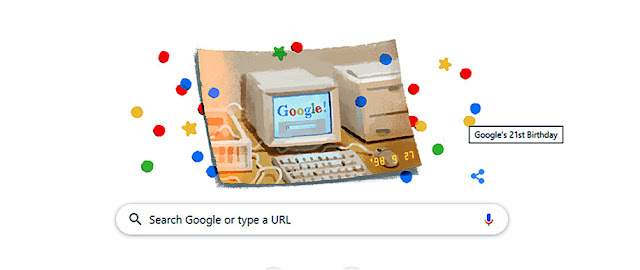 Google Doodle Search Engine 21st Birthday