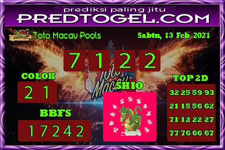 Pred Macau Sabtu 13 Februari 2021