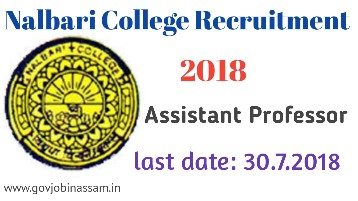 Nalbari College Recruitment 2018 : Assistant Professor In English