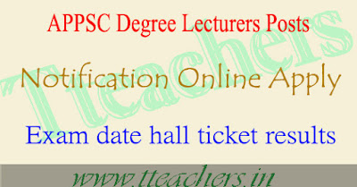 APPSC degree lecturers dl notification 2017 apply online exam date hall tickets
