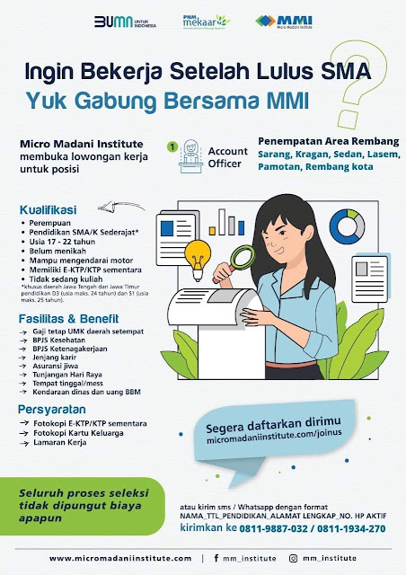 Lowongan Kerja Pegawai BUMN Micro Madani Institute Rembang