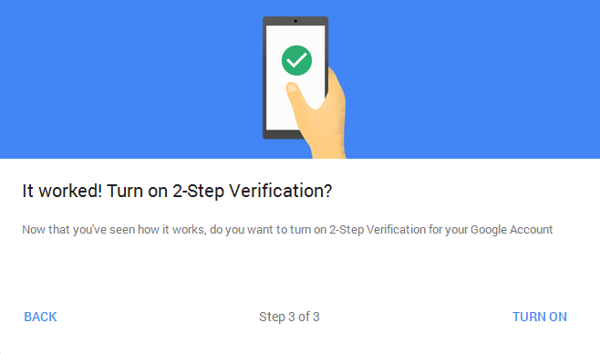 two step verification for google account
