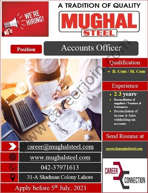 Mughal Steel Jobs June 2021