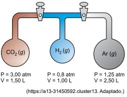 FAMERP 2021: A figura ilustra uma montagem experimental composta por três recipientes contendo gases puros à mesma temperatura e separados por válvulas.