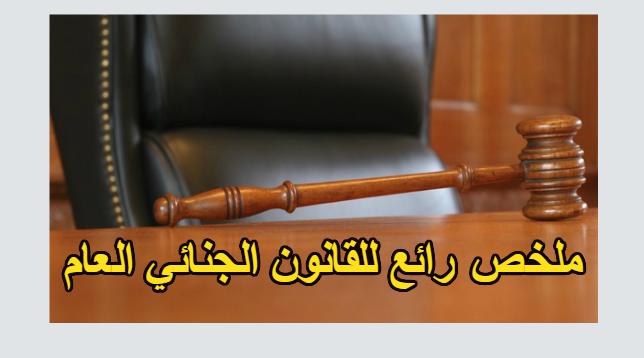 تلخيص رائع وصغير الحجم لمادة القانون الجنائي العام