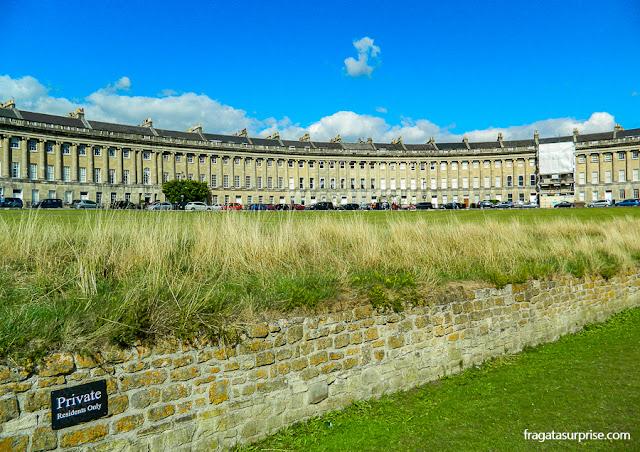 The Royal Crescent, conjunto de residências aristocráticas em Bath, Inglaterra