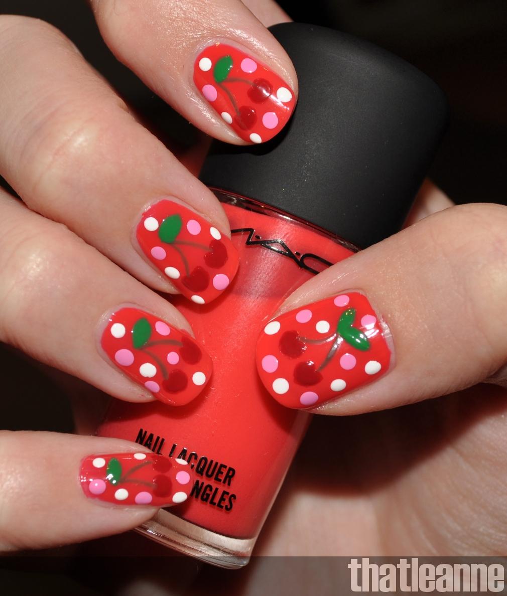Thatleanne Chococat Nail Art: Thatleanne: Cherry Nail Art