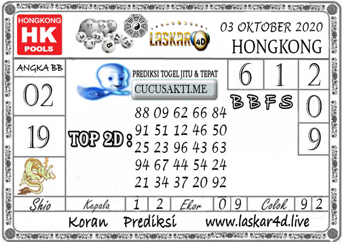 Prediksi Togel HONGKONG LASKAR4D 03 OKTOBER 2020