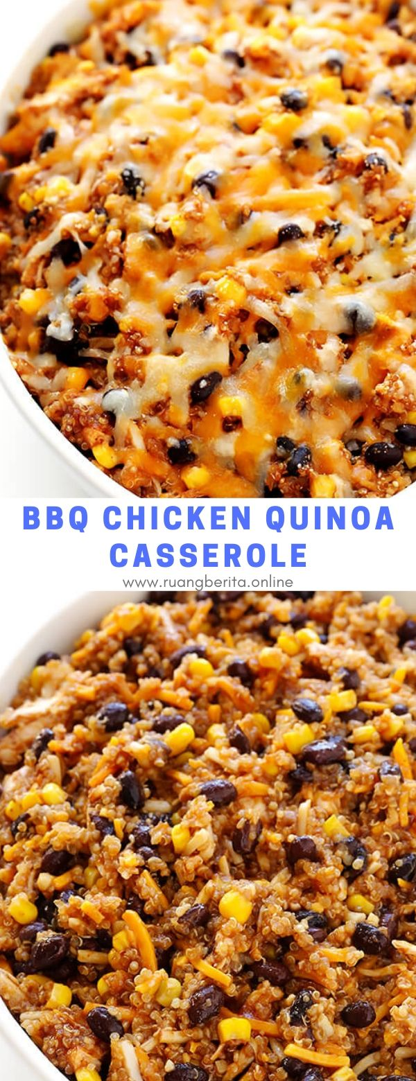 BBQ Chicken Quinoa Casserole #maincourse #lunch #dinner #bbq #chicken #quinoa #casserole