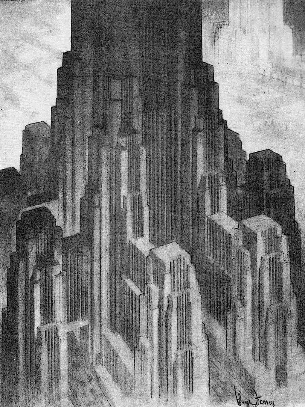 a Hugh Ferriss tower or giant building