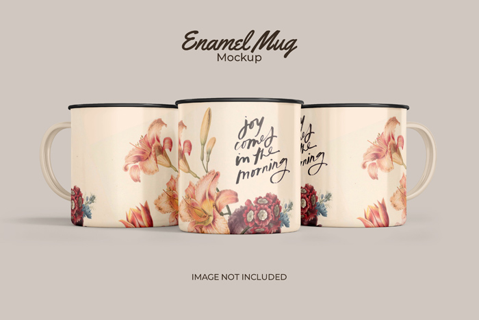 Three Classic Enamel Mug PSD Mockup