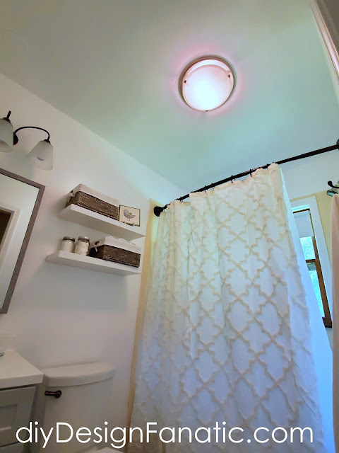 Lowe's Home Improvement, farmhouse bath, bathroom, bathroom makeover, cottage bath, mirror, vinyl plank flooring