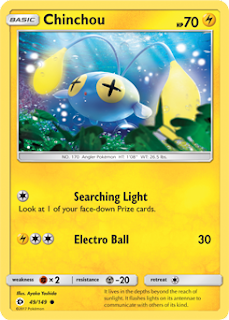 Chinchou Sun and Moon Pokemon Card