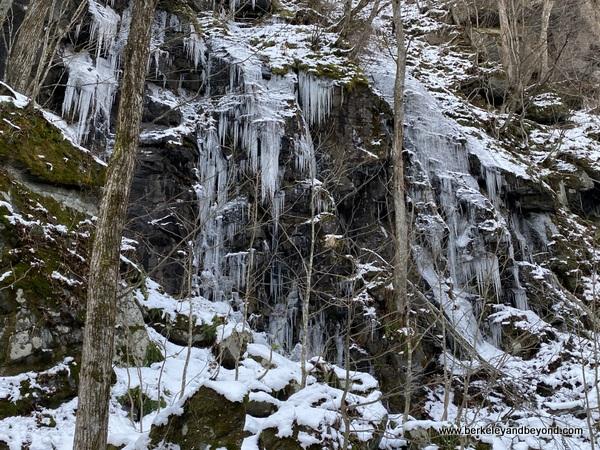 frozen waterfall in Oirase Gorge in Oirase National Park in Aomori, Japan