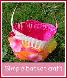 Simple Easter basket craft with paper plates