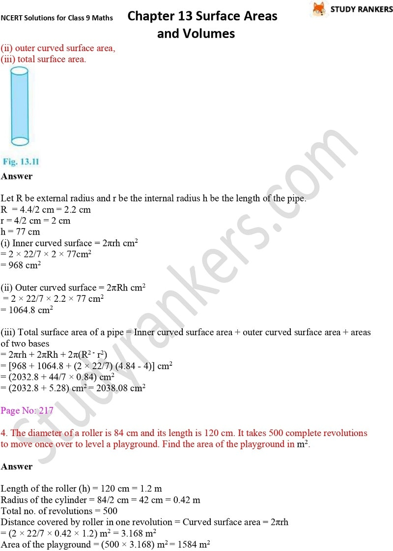 NCERT Solutions for Class 9 Maths Chapter 13 Surface Areas and Volumes Part 5