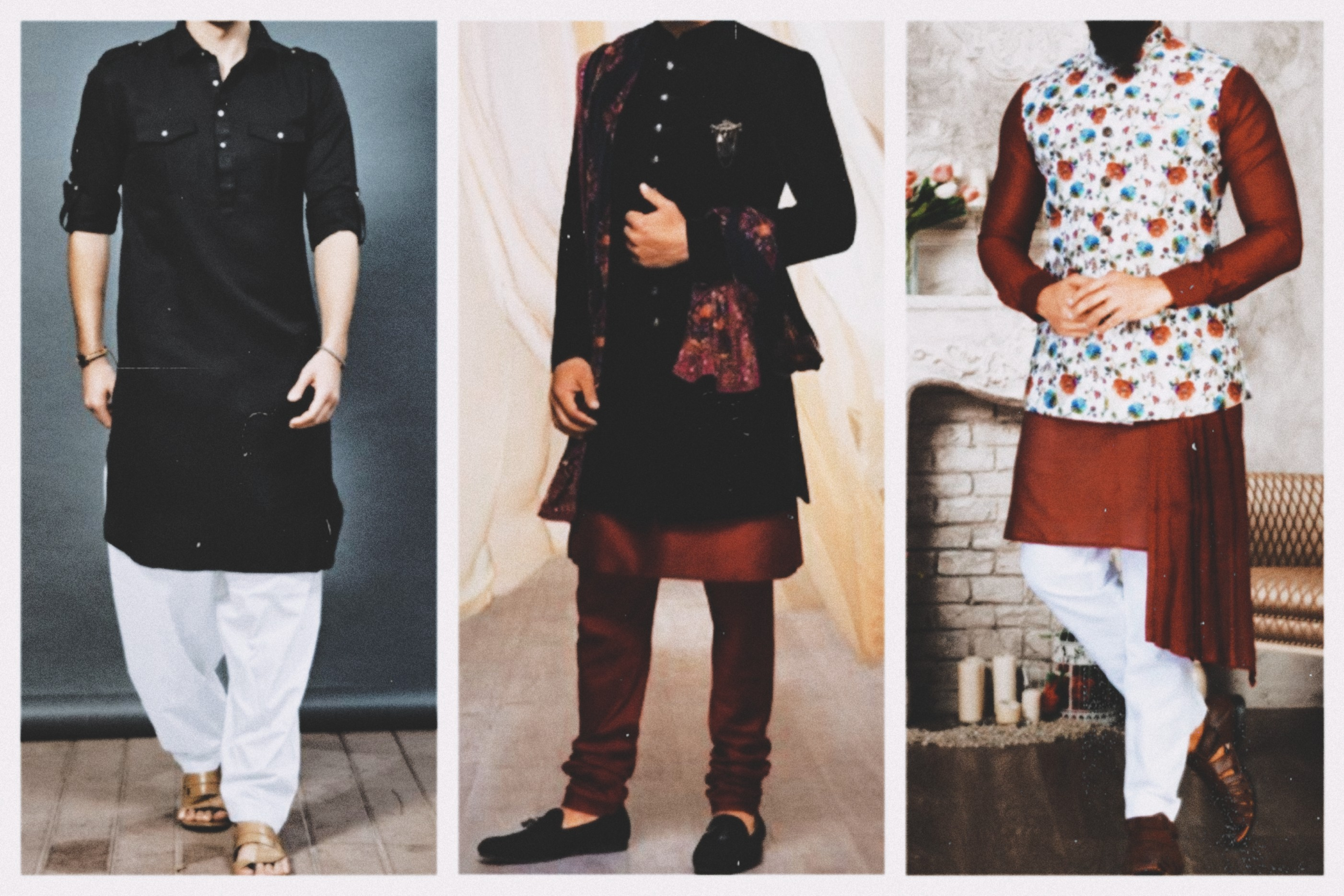 Three mens wearing kurta pajama in different ways.