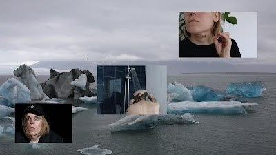 A montage with an iceberg in the background and three smaller screenshots from the video Seepage, depicting the artist