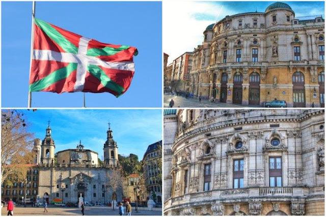 Bandera de la región vasca – Iglesia de San Nicolas – Teatro Arriaga en Bilbao