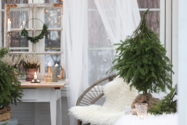 kesähuoneen talvi, talvinen kasvihuone, joulu, jouluvalot, havukuusi diy