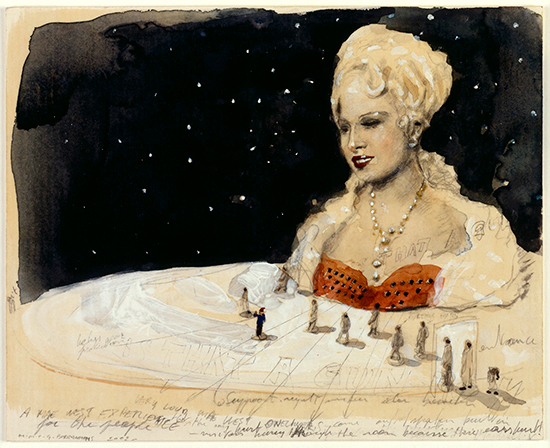Michaël Borremans A Mae West Experience, 2002 pencil, watercolor and white ink on paper 16.3 x 20,3 cm