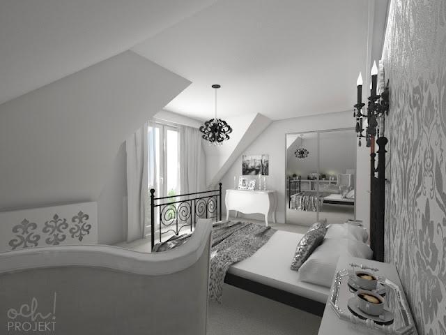 sypialnia na poddaszu w stylu glamour