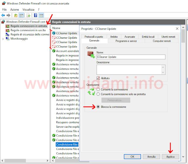 Windows Firewall bloccare connessione regola connessione in entrata di CCleaner