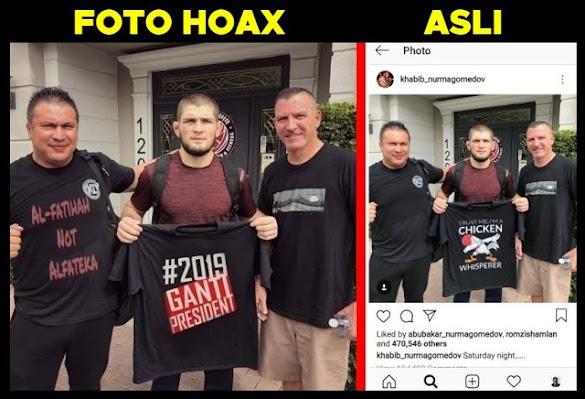 Awas Jebakan Hoax! Editan Foto Khabib Nurmagomedov dan Kaos #2019GantiPresiden