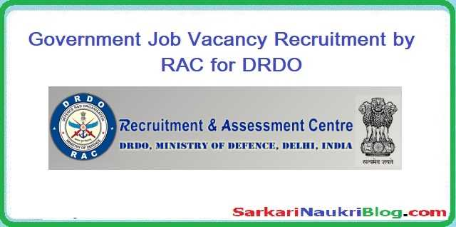 Vacancy Recruitment by RAC DRDO