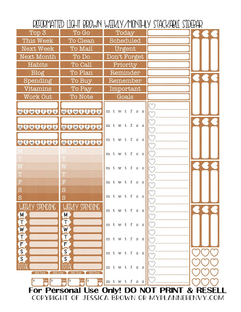 Free Printable Reformatted Monthly/Weekly Stackable Sidebar in Light Brown from myplannerenvy.com