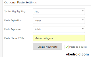 Optional Paste Settings Pastebin